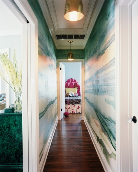 How to decorate a long, narrow hallway. Add pattern with wallpaper or stencils! When your walls are this gorgeous, who needs art?