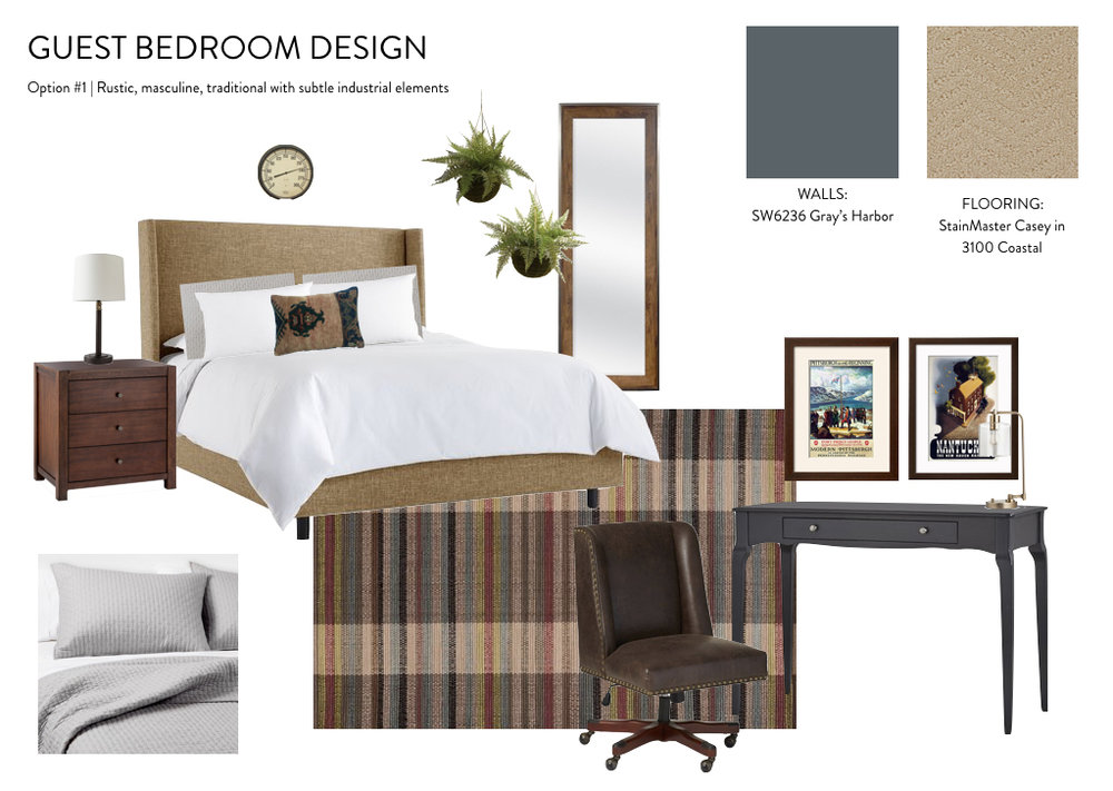 guest bedroom design inspiration : rustic, masculine, traditional, industrial
