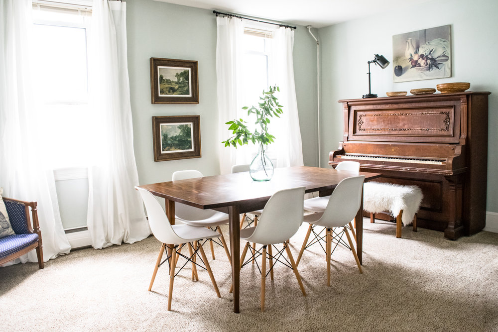 Modern Meet Antique Dining Room Decor Inspiration | Antique Piano,  Midcentury Walnut Dining Table,