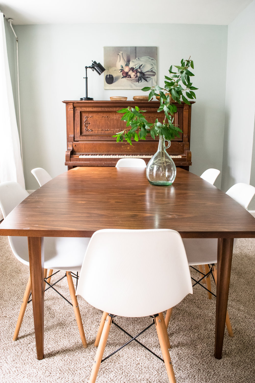 Modern Meet Antique Dining Room Decor Inspiration | Antique Piano,  Midcentury Walnut Dining Table,