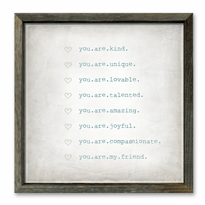 rustic framed shelf art -  'you are...'