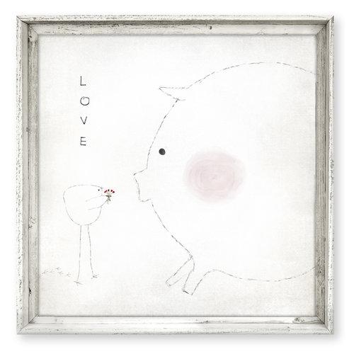 Framed Canvas Art {FAC-185SQ}<br>LOVE - blushing pig — sweet gumball