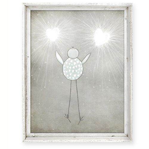 Tall Framed Art Canvas Fac 199brbird Heart Sparklers Sweet