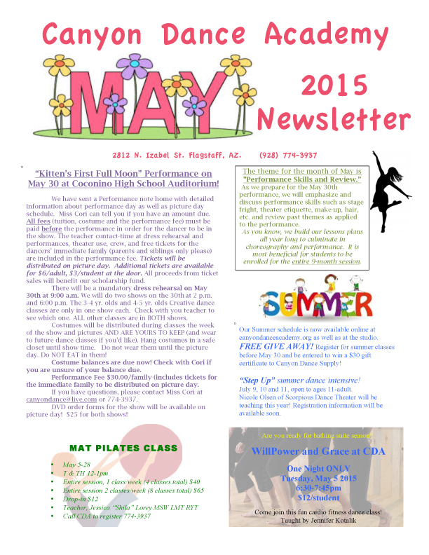 May Newsletter — Canyon Dance Academy