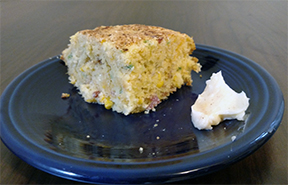 Zach's Jalapeño bacon cheddar corn bread with oven roasted corn + Chacha Lima honey butter. GG + GGX + Cha-cha Lima!