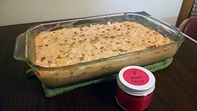 Deborah's cheesy corn casserole seasoned with Roxy Taco!