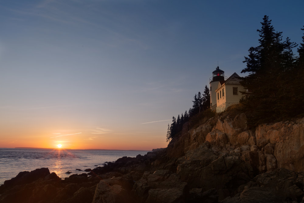 Bass Harbor Light at Sunset ISO 50 / 28 mm / f18 / 1/5 sec