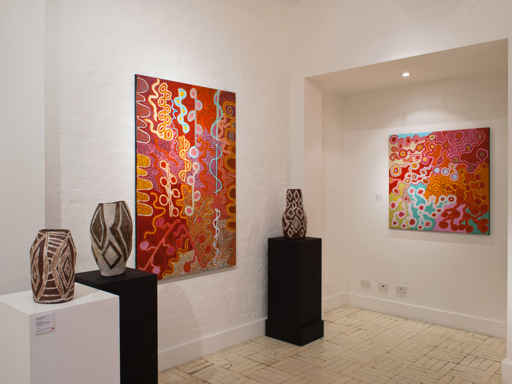 Paintings by Rupert Jack, ceramics by Pepai Jangala Carroll at Alcaston Callery