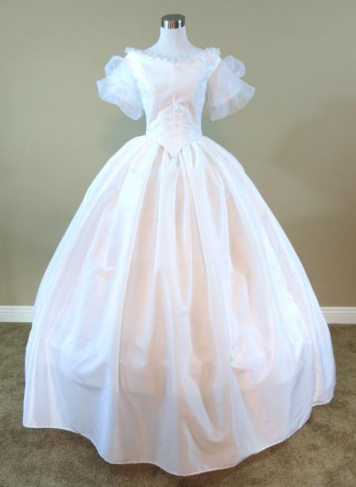 White Organza Sleeve Gown (waist - 27\