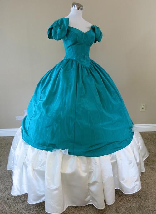 Two Piece Green/Teal Ball Gown (waist - 28\