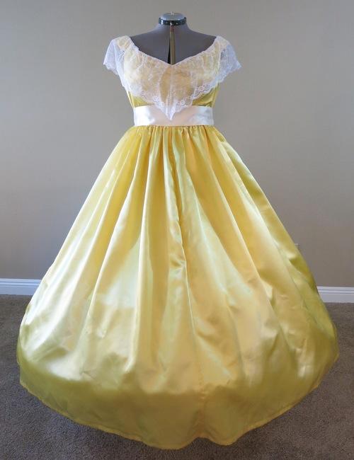 Buttercup Yellow Satin Gown (waist 36 1/2\