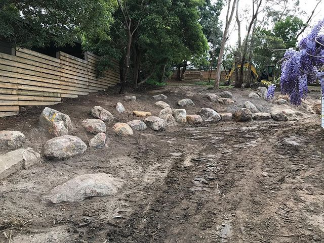 48 hours, 3 amazing staff, 2 machines and 20 cubic meters of granite boulders ready for planting... #landscape #lucidalandscapes #construction #rockwork #bushprojects
