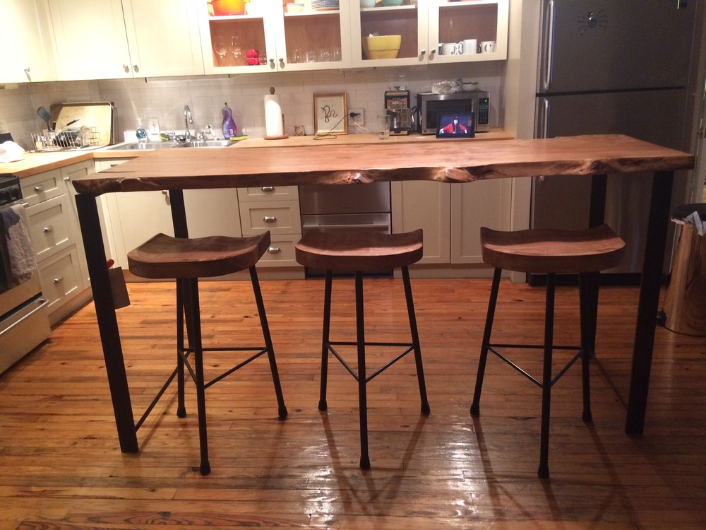 Maple Table and Vintage Tractor Seat Stools