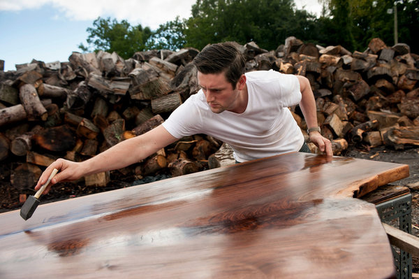 Tyson Keppler worked on a table made from black walnut