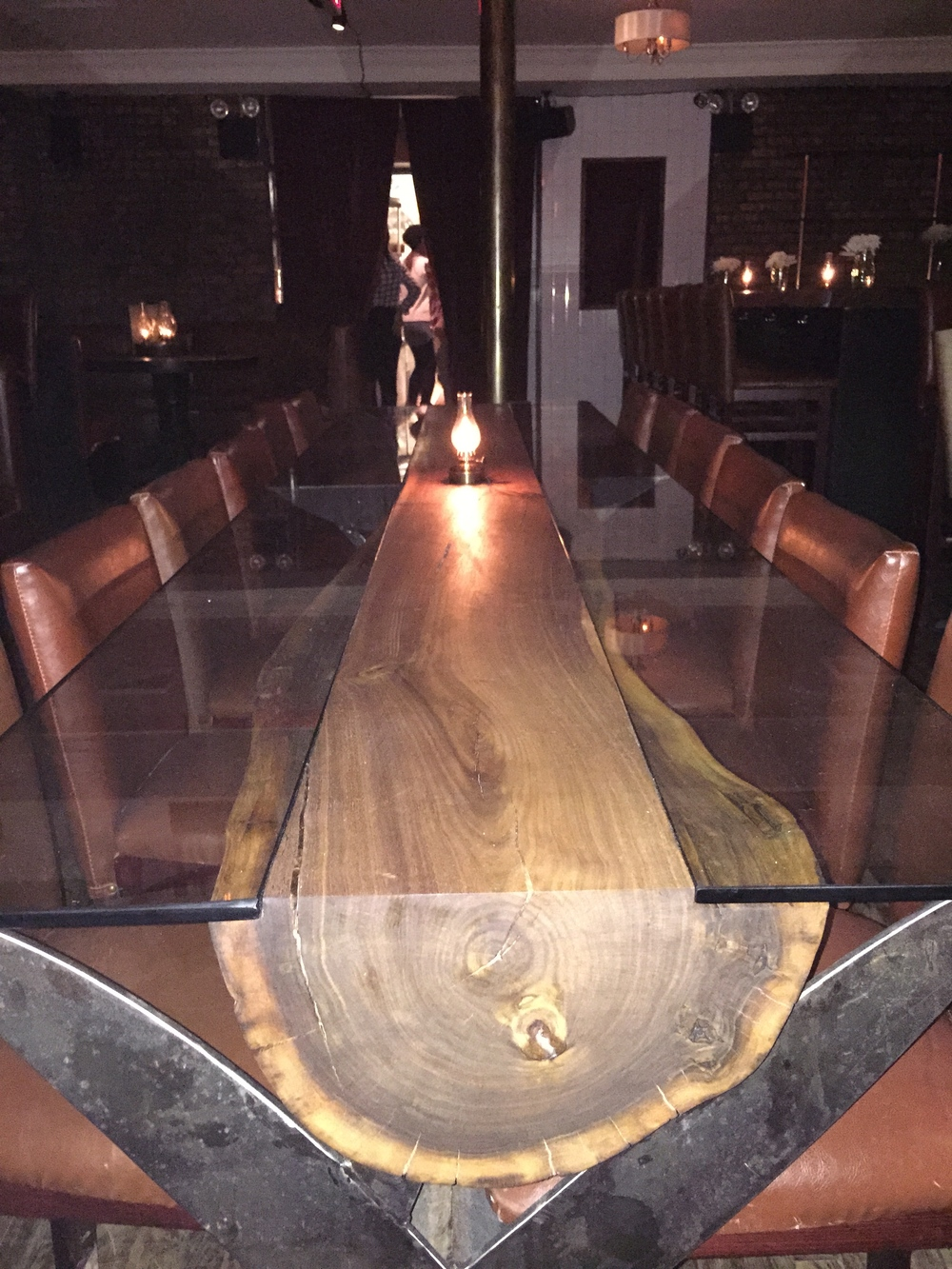 Walnut Log Table with Metal Scissors Base