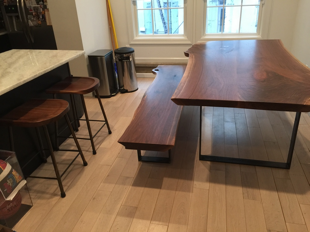 Walnut Table, Bench and Stools