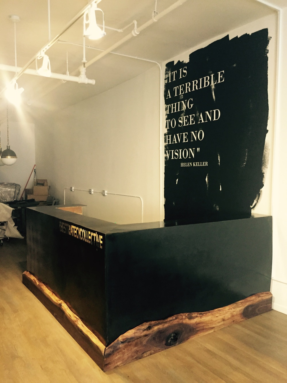 Metal Reception Desk With Wrap-Around Walnut Border