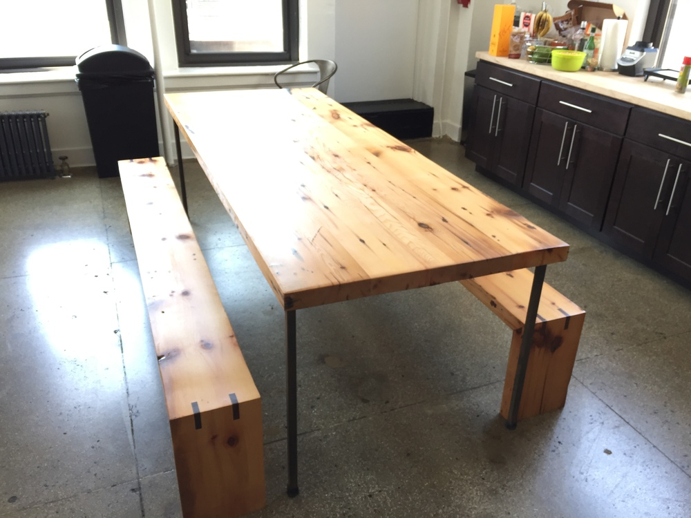 Table and Benches With Walnut Splines