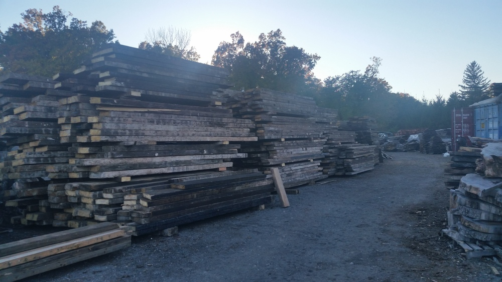 Sunset at Beam Alley.  This is part of our collection of antique beams sourced from downtown Brooklyn, Brooklyn Heights, Park Slope, Soho, NoMad, Greenwich Village and Yorkville.  White Pine, Douglas Fir and So. Yellow Pine, 3 x 8 - 3 x 12, 10' to 22' long.  Available for sale in quantities from 1 to 100.  If interested, contact us at info@nycityslab.com.