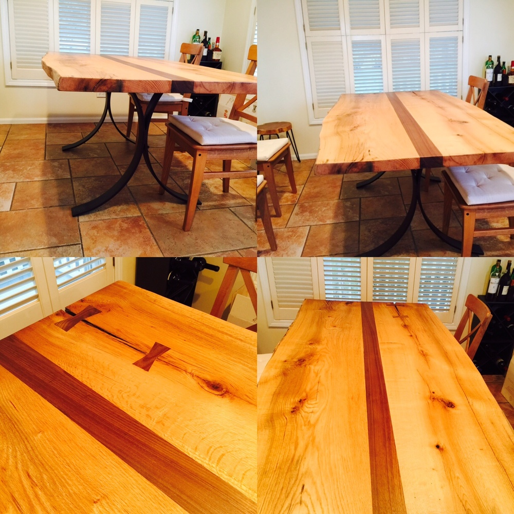 Hickory Table with Walnut Strip