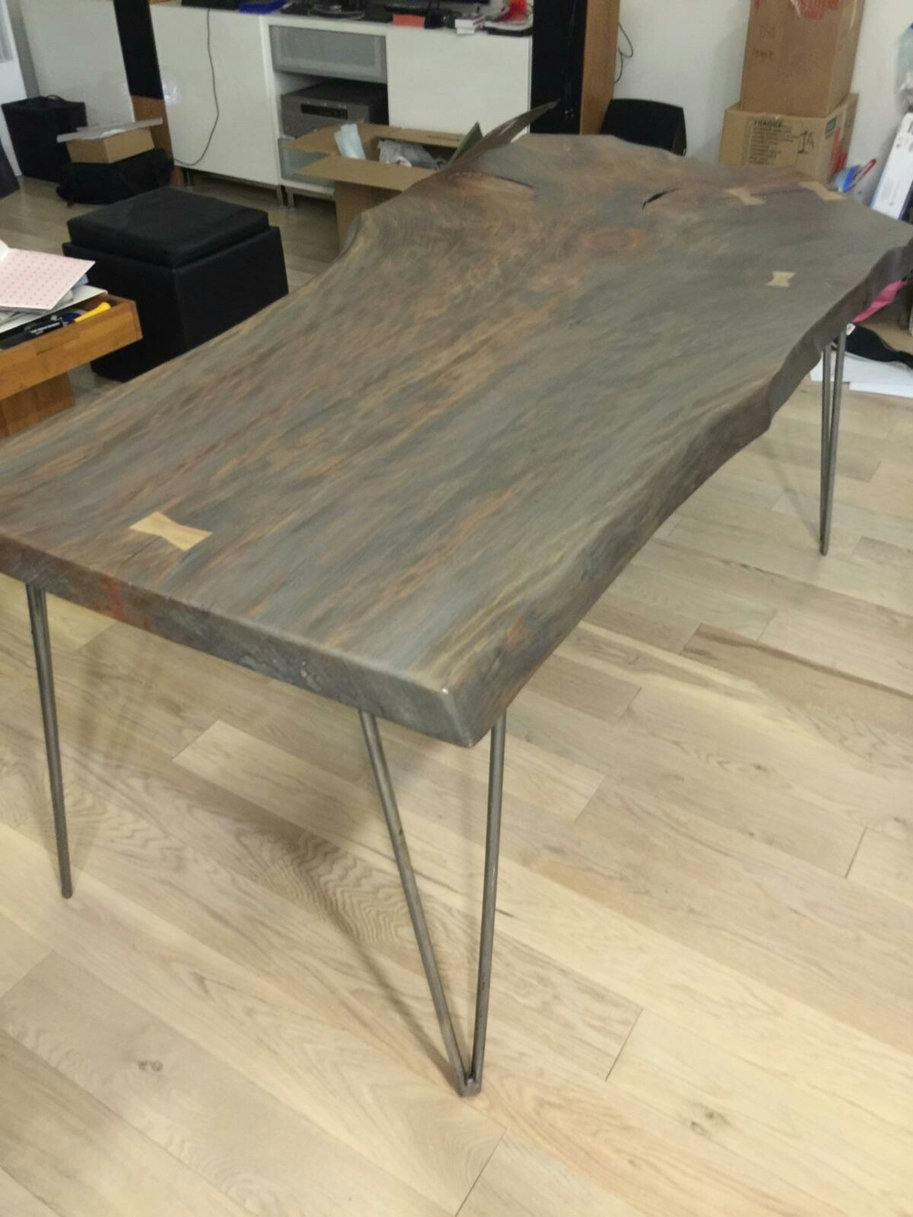 Gray-washed Sycamore table