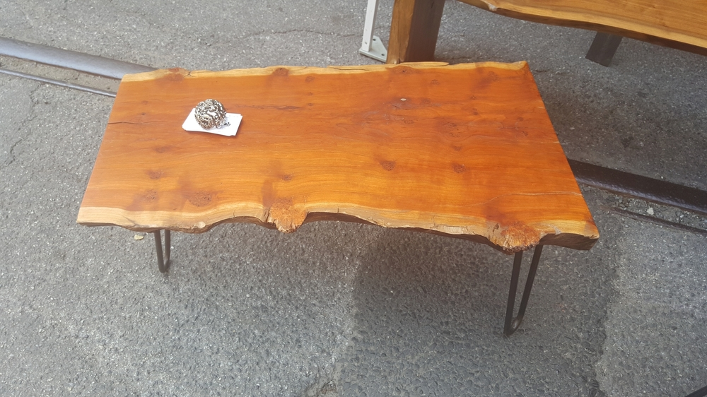 Live Edge Cherry Table with Three Hairpin Legs