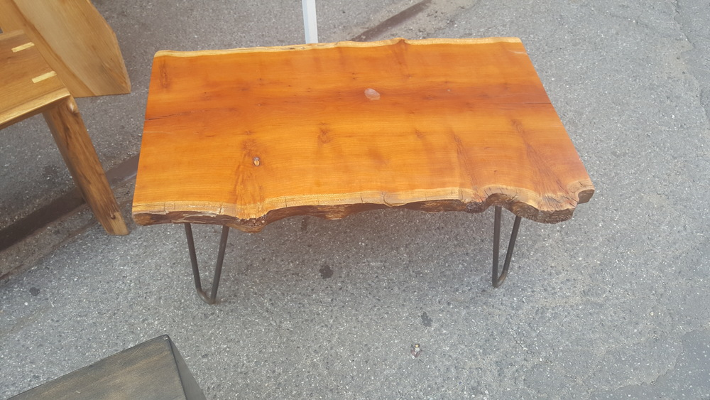 Live Edge Cherry Coffee Table with Four Hairpin Legs
