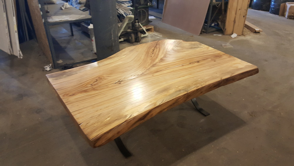 Live Edge Elm Table with Curved Legs
