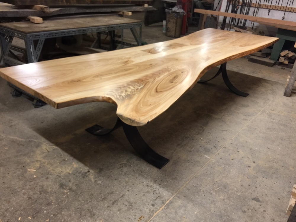 12' Elm Table with Patchwork