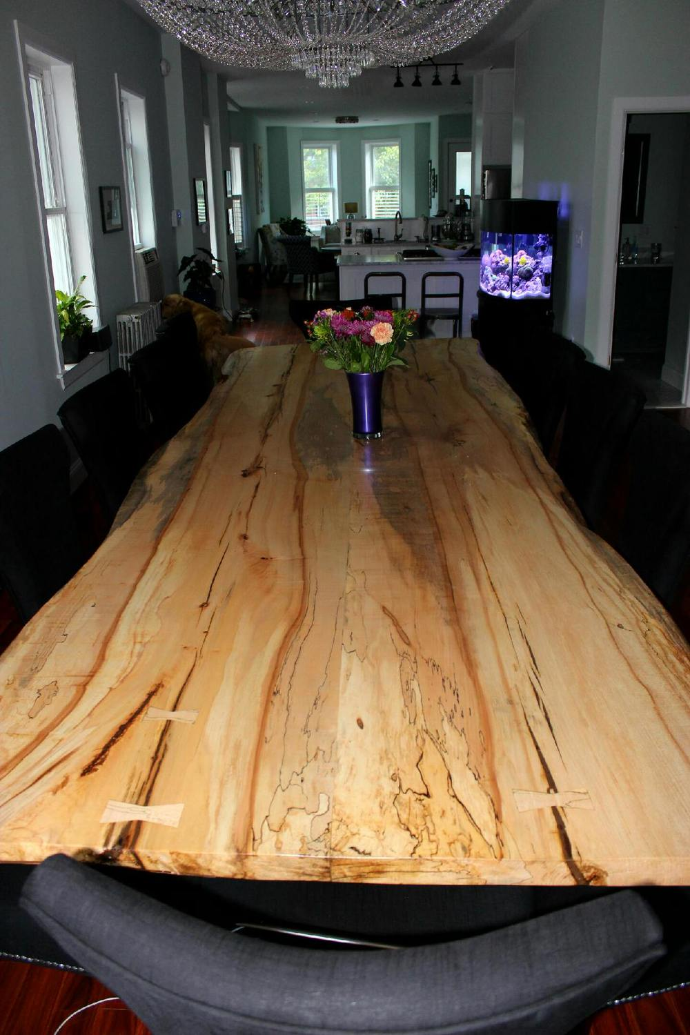 13' Long Spalted Maple Dining Table