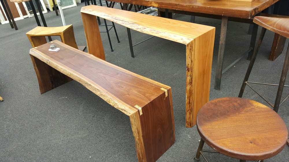 Live edge Walnut bench and  Cherry console or sofa table