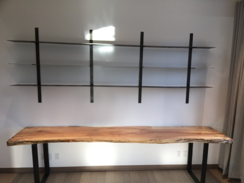 11' desk and shelves