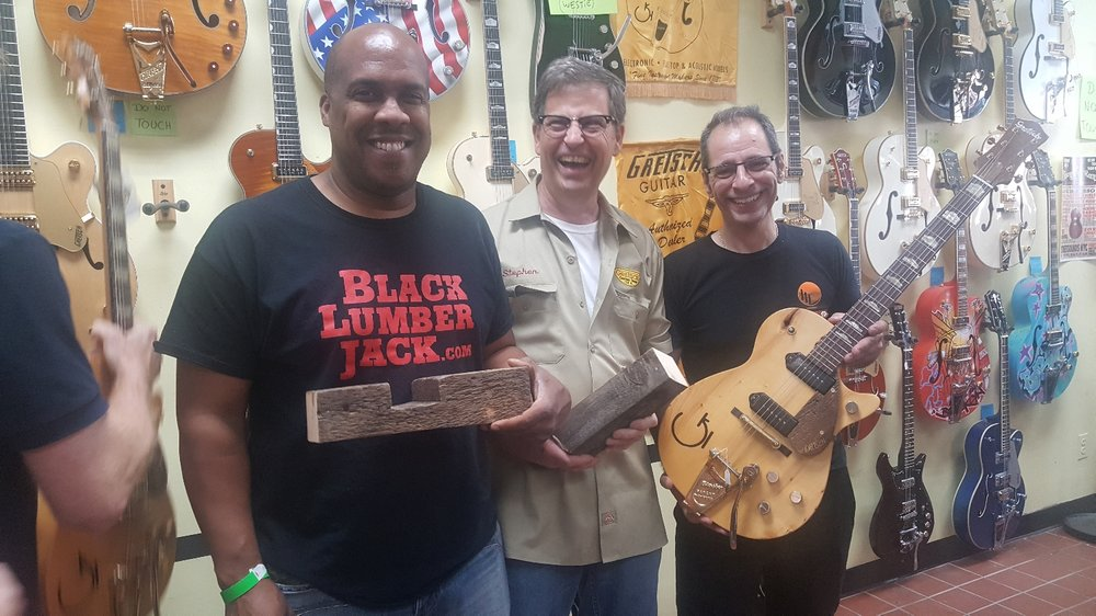 Blacklumberjack, Steve Stern, master guitar maker and Rocky Schiano, owner of Street Sounds, the coolest guitar shop around!