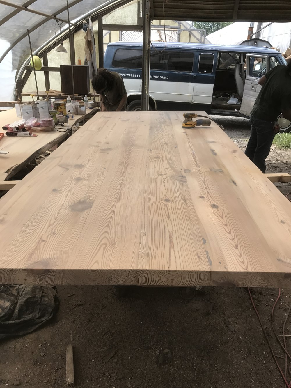 "yellow pine table 60wide 2.5"" thick and very heavy"