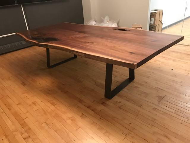 Black Walnut Table with Glass Inlay