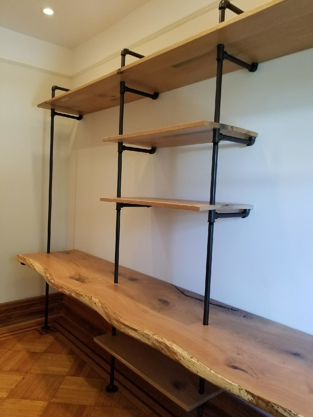 Live Edge White Oak Shelving Unit