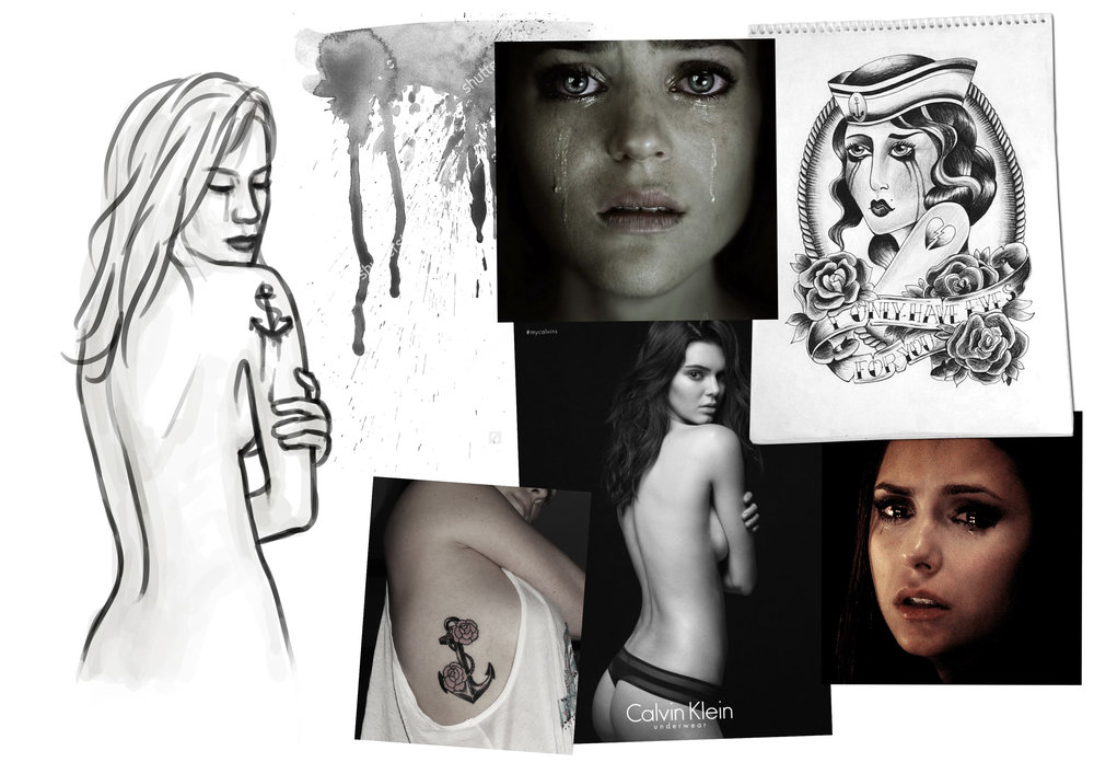 Concept moodboard: Crying tattoo