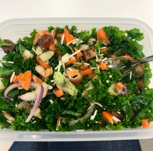 (Blurry!) Massaged kale salad with chopped carrots, dates, avocado, red onion, and sliced almonds. Also added some shredded parm for a savory note & the dressing is a quick whisking together of olive oil + honey + lemon juice