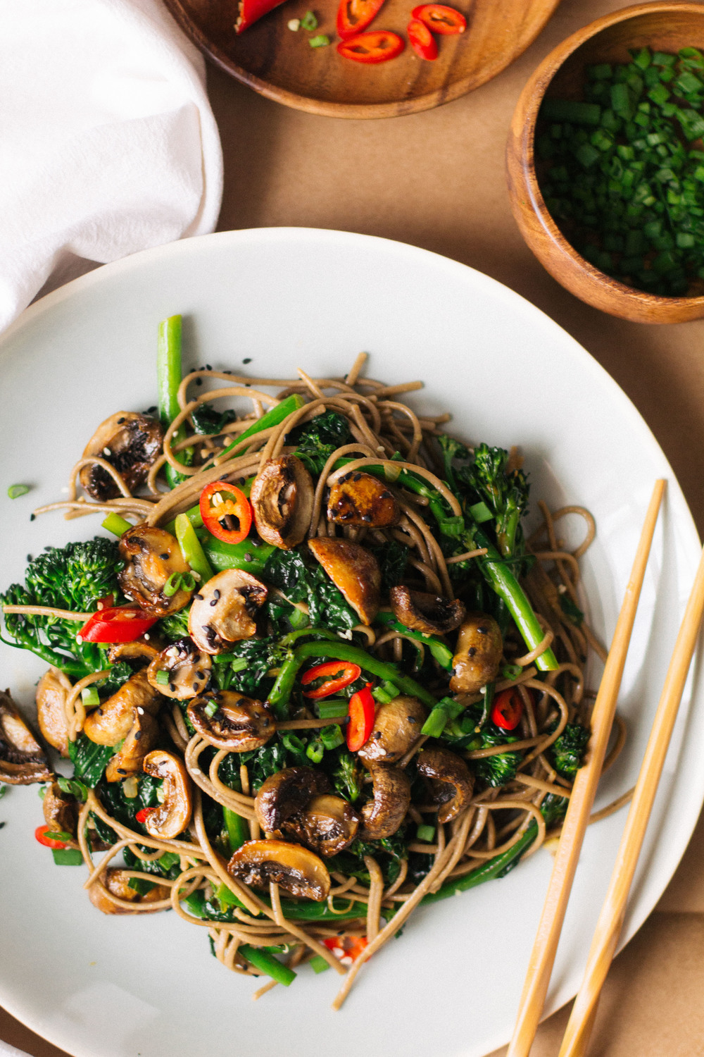roasted teriyaki mushrooms and broccolini soba noodles sobremesa