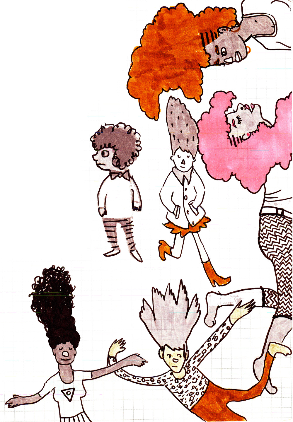 Snowstorm Hairdos, marker and ink, 2014