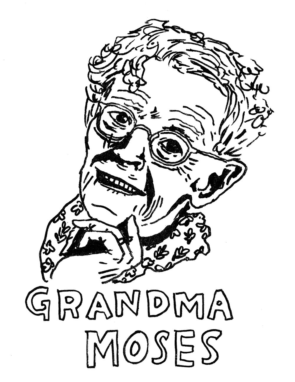 Portrait of Grandma Moses, ink, 2013