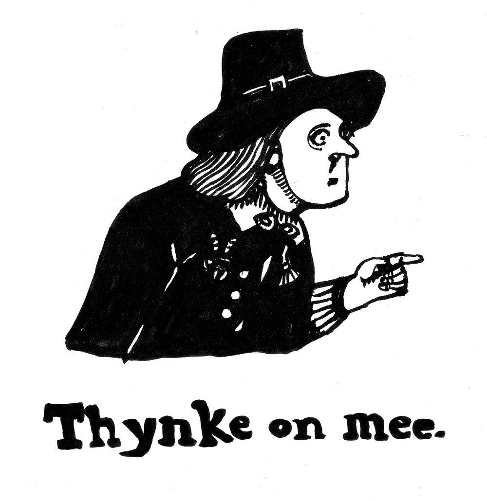 Thynke on mee, ink, 2014