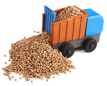 Dump Truck carrying the wood-plastic pellets we use to make our toys.