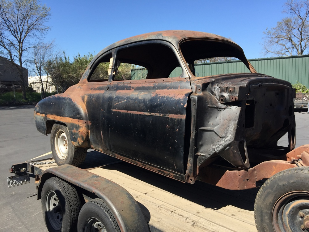 A fresh project dropped off, a 1950 Oldsmobile full build