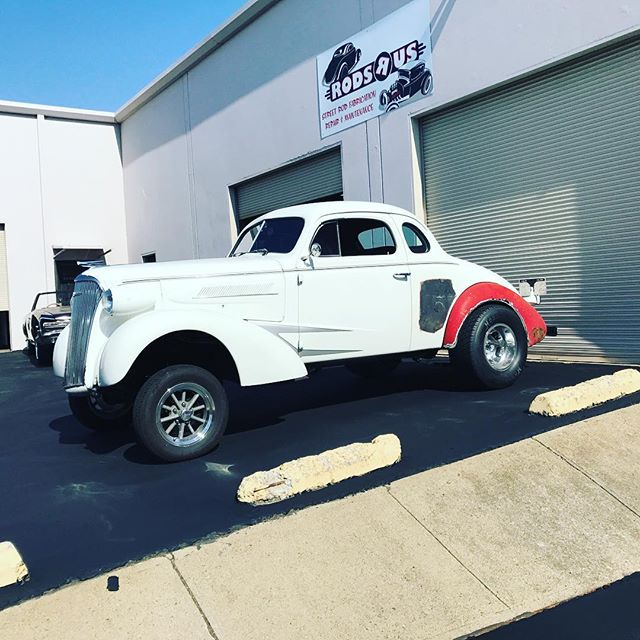 Recently delivered this 37 Chevy gasser. We did radiused wheel wells and welded in a rolled edge, welded in a flush mount fuel door and a bunch of mechanical repairs. Next time the cars here it's getting some wicked long ladders bars and some more cool stuff.