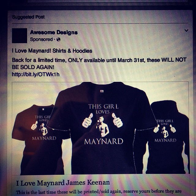 I think it's safe to say that Facebook finally knows the right ads to suggest for me #Maynard