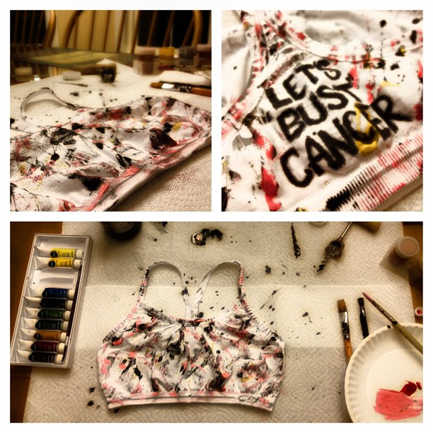 LET'S BUST CANCER! Just put the finishing touches on the bra I made for #MZ&Emmerssportsbraauction !! Sorry it took so long guys! It's goin in the mail tomorrow xoxo