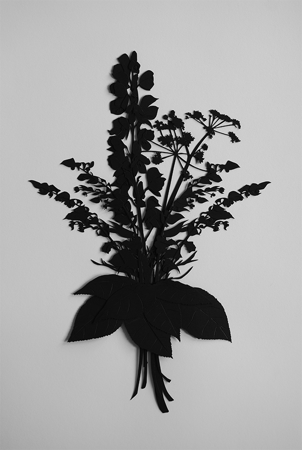 "Impossible Bouquet of Death #1 (Aconitum, Conium, Atropa belladonna, and Dendrocnide Morides leaves) | 2014 | Cut paper and glue | 18.5"" x 12.5"""