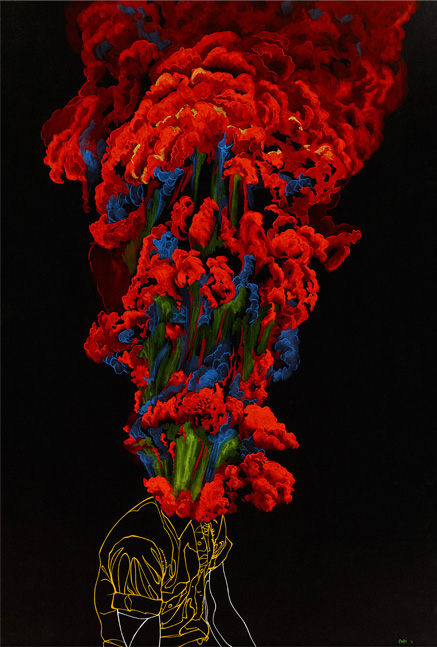 "Bloom | 2011 | Gouache on black paper | 20"" x 30"""