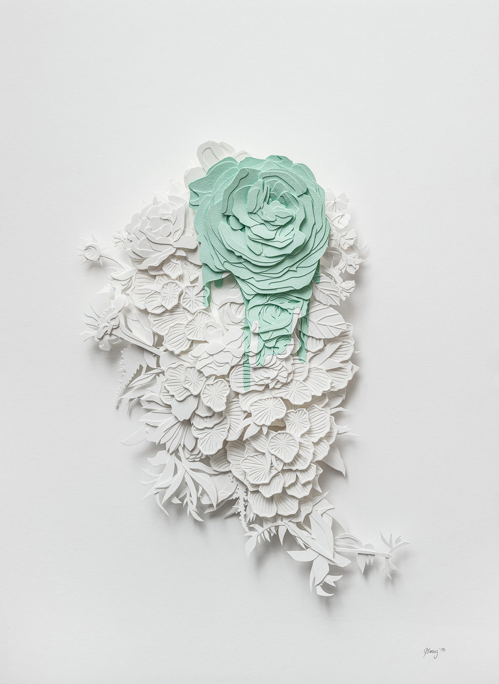 "Bleed in Green | cut paper and glue | 11.75"" x 16"" 